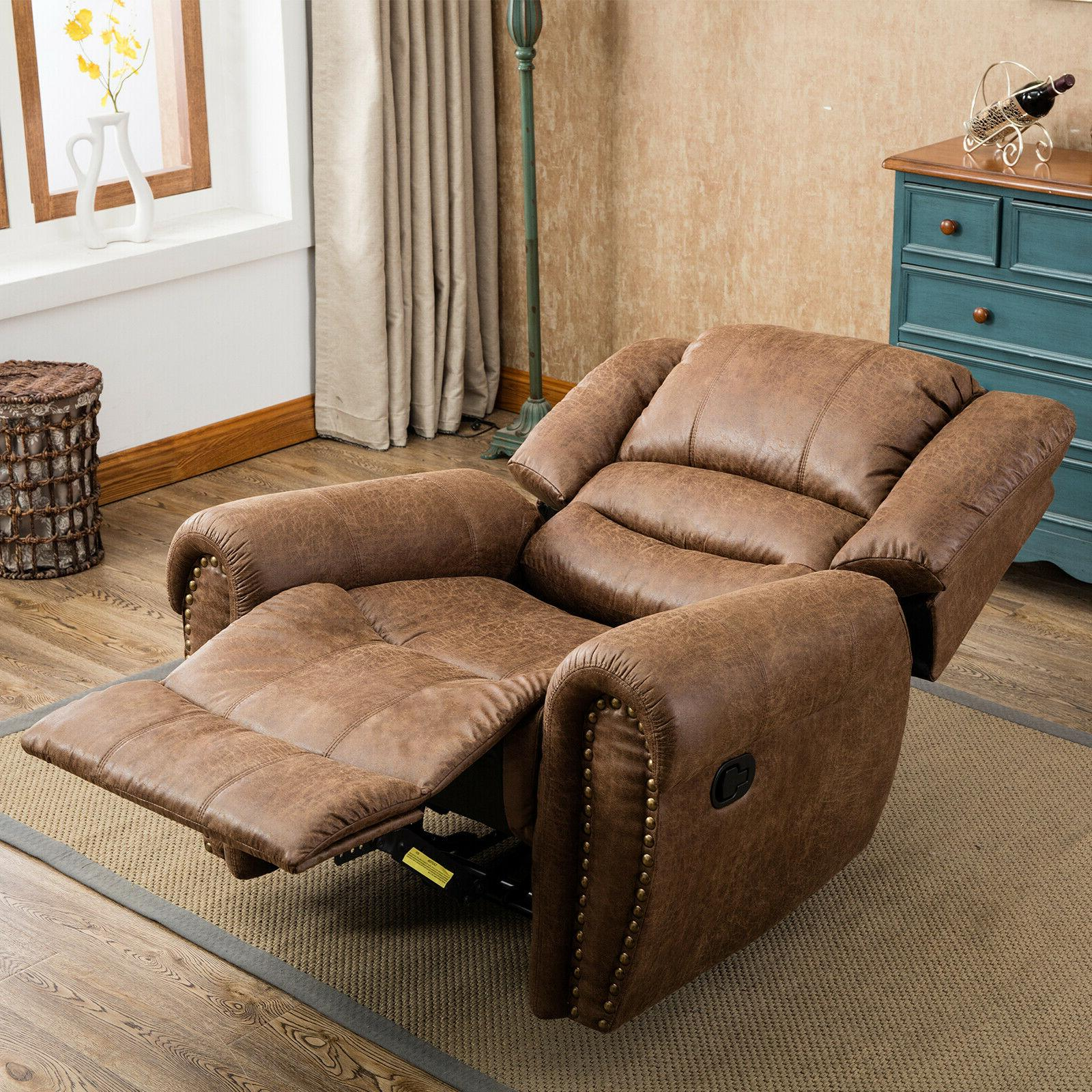 Leather Manual Recliner Overstuffed and Lounge