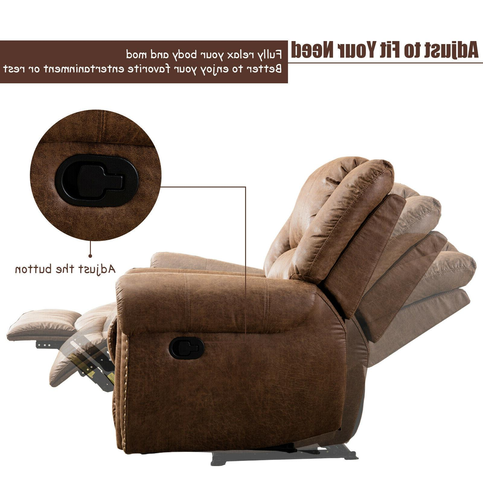 Leather Manual Recliner Chair Overstuffed Arms and Lounge