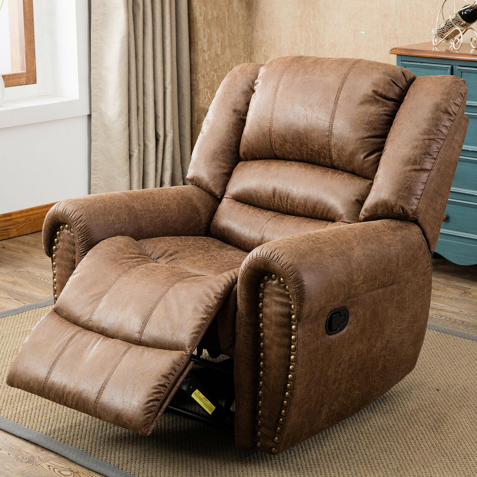 Leather Manual Recliner Overstuffed Lounge Room