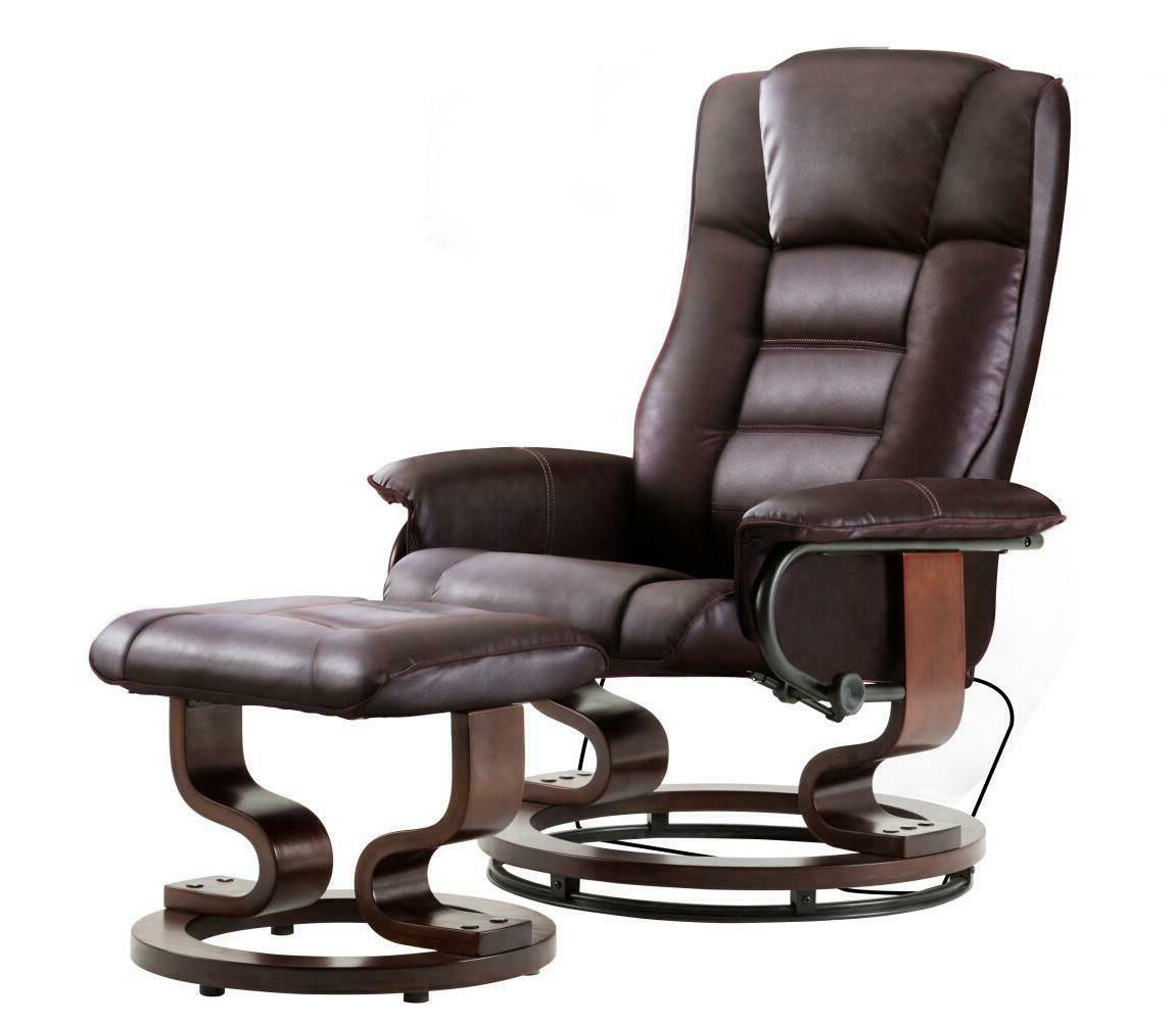 Mcombo Leather Swiveling Recliner Chair with Wrapped Wood Ba