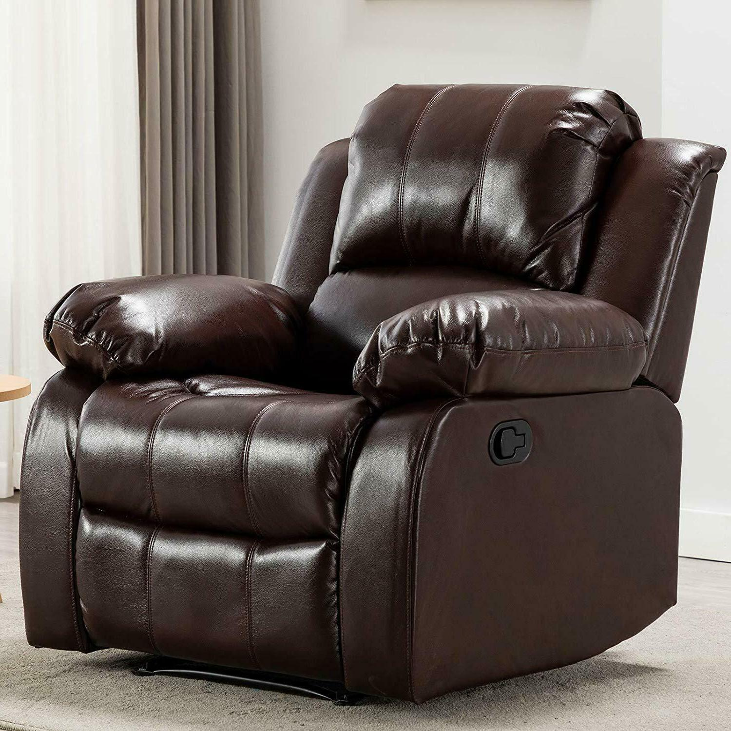 Manual Recliner Chair Breathable Bonded Leather Overstuffed