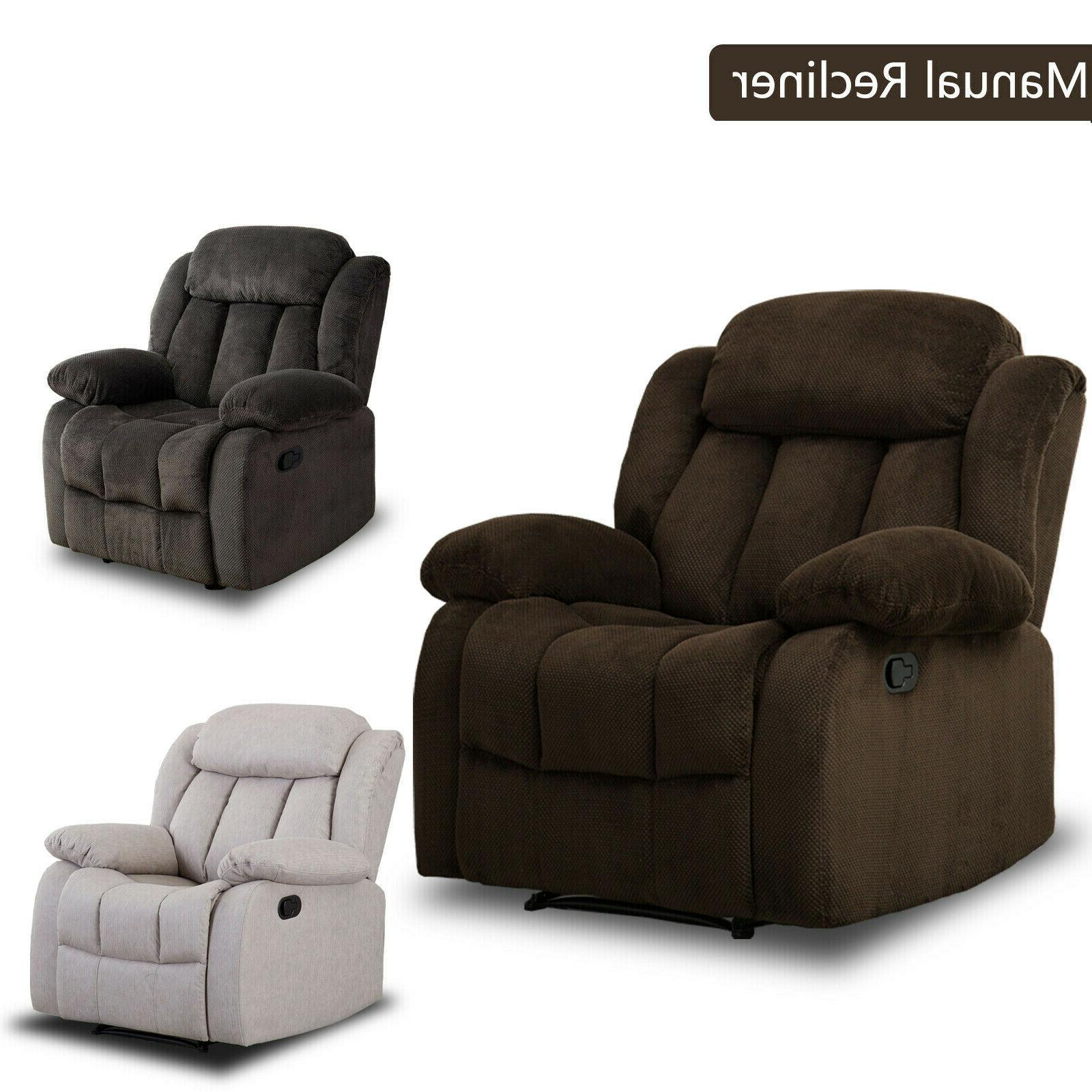 overstuffed manual recliner chair 23 w padded