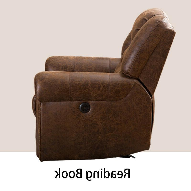 Electric Power Recliner Traditional Brown Breathable Leather