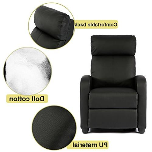 FDW Recliner Chair Leather Sofa Home Living Room, Black