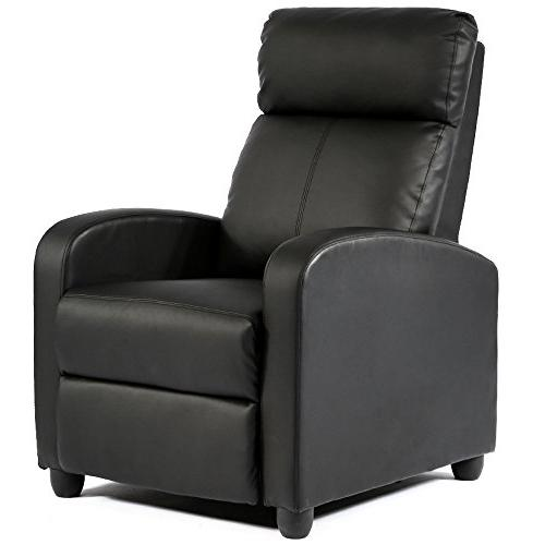 FDW Recliner Leather Modern Home Seating for Living Black