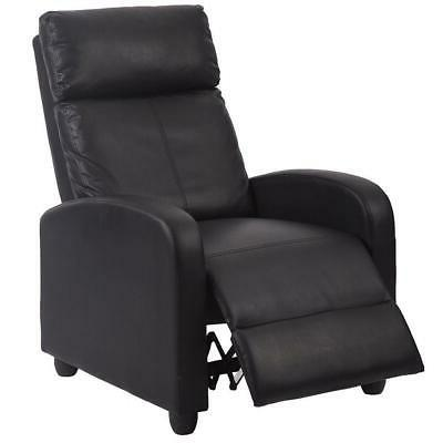 Recliner Chair PU Leather Sofa Push Back Seat W/ Footrest Ar