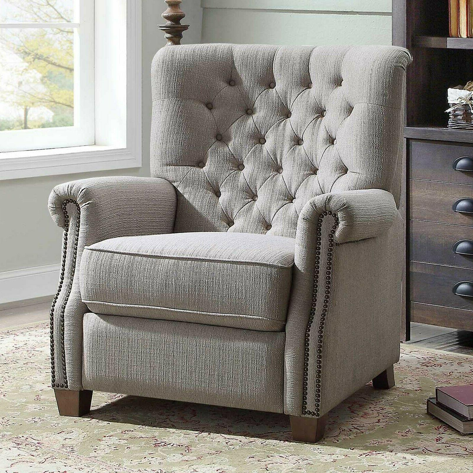 Tufted Elegant Push Back Recliner Chair Lazy Padded Seat Woo