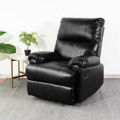 Stylish Leather Manual Push-back Sofa Armchair Couch