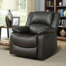 Leather Elegant Recliner Chair Lazy Padded Seat Wood Furnitu