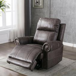 Manual Leather Recliner Chair Accent Pusk Back Padded Seat A