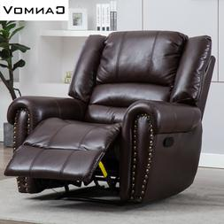 Leather Manual Recliner Chair Overstuffed Accent Sofa w/Nail