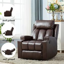 Leather Manual Recliner Chair with Cup Holder Home Theater S