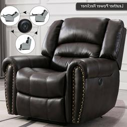 Leather Power Recliner Chair Sofa Overstuffed Home Theather