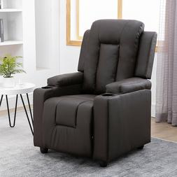 Leather Recliner Chair Padded Seat Sofa Living Room Reclinin