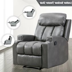 Leather Recliner Chair Thick Backrest Sofa w/ 2 Cup Holders