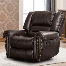 Leather Recliner Chair Traditional Living Room Lounge Sofa O