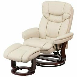 Pemberly Row Leather Recliner in Beige