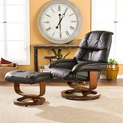 Southern Enterprises Leather Recliner with Ottoman Black