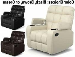 Leather Wall Hugger Recliners Cup Holder Storage Armchairs C