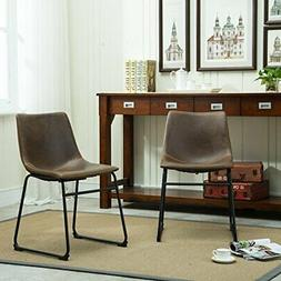 Roundhill Furniture Lotusville Vintage PU Leather Dining Cha