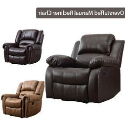 Leather Manual Recliner Chair Padded Cushion Lounge Sofa Hom