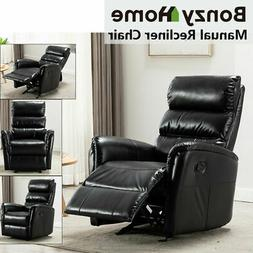 Manual Glider Rocker Recliner Chair Breathable Leather Sofa