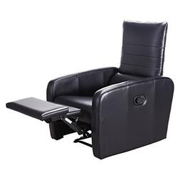 Giantex Manual Recliner Chair Foldable-Back Leather Modern R