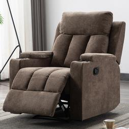 Manual Recliner Chair Living Room Theater Fabric Seating Wit