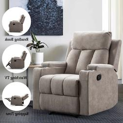 Manual Recliner Chair With 2 Cup Holders Reclining Single Li