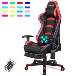 Massage LED Gaming Chair Reclining Racing Chair w/Lumbar Sup