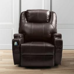 Massage Recliner Sofa Leather Vibrating Heated Chair Lounge