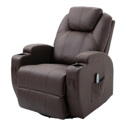 19in1 Leather Massage Chair Recliner Lounge Swivel Vibrate H