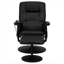 massaging black leather recliner ottoman