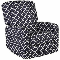 JC Home Menet Swivel Glide Recliner with Graphic-Print Fabri