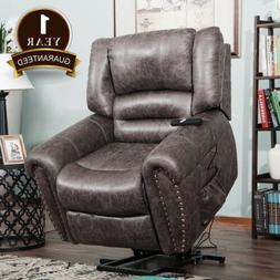 Electric Power Lift Recliner Chair Elderly  Armchair Leather