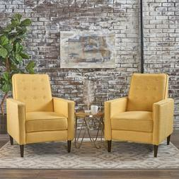 Mid-Century Fabric Recliner Club Chair Set of 2 Accent Chair