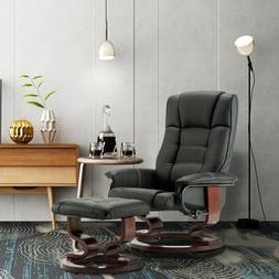 Modern New Leather Swiveling Recliner Chair & Ottoman with S