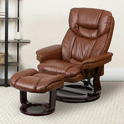 Multi-Position Recliner & Curved Ottoman with Swivel Wood Ba