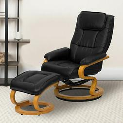 Brown LeatherSoft Adjustable Swivel Recliner &Ottoman w/Mapl