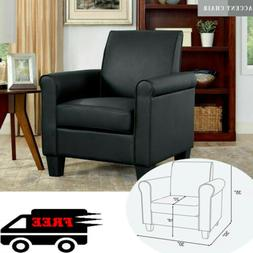 New Black Modern Leather Accent Chair Living Room Arm Chairs