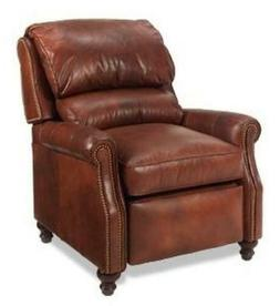 NEW LEATHER RECLINER CHAIR  WOOD HAND-CRAFTED USA  CASUAL ST