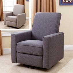 Nursery Taupe or Gray Swivel Glider Recliner Arm Chair Glide