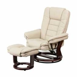 Offex Contemporary Beige Leather Recliner And Ottoman With S