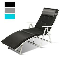 Outdoor Folding Chaise Lounge Chair Lightweight Recliner w/C