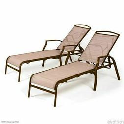 Outdoor Patio Pool Chaise Lounge Chairs Sling Recliner Adjus