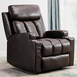 Oversized Leather Cover Recliner Lounge Theater Chair with C