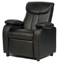 GentleShower Padded PU Leather Kids Recliner with Overstuff