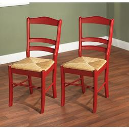 Paloma Woven Rush Seat Red Wood Finish Set Dining Room Furni