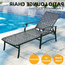 Patio Adjustable Outdoor Recliner Strap Chaise Reclining Lou