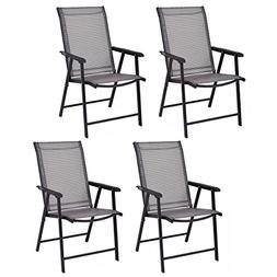 Giantex 4-Pack Patio Folding Chairs Portable for Outdoor Cam